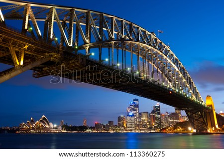 This image shows the Sydney Skyline as seen from Milsons Point, Australia - stock photo