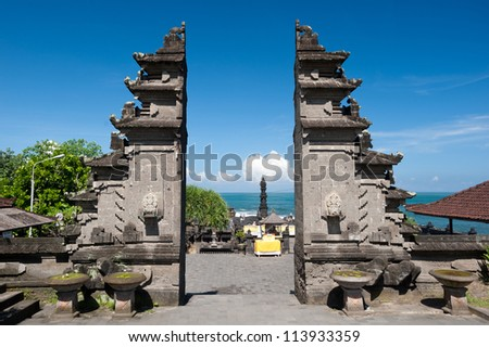This image shows the Tanah Lot temple Gates, in Bali island, indonesia - stock photo