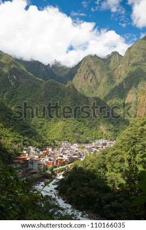 This image shows the town of Aguas Calientes, Peru - stock photo