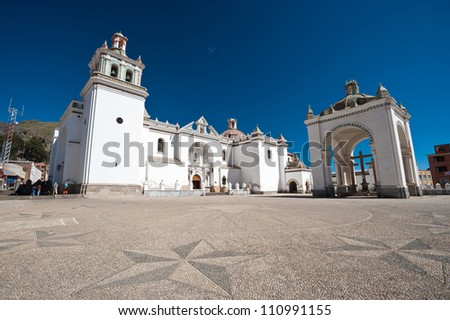 This image shows the town of Copacabana, Bolivia - stock photo