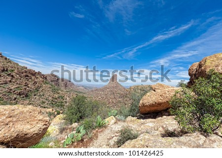 This image was taken from the Siphon Draw Trail  in the Superstition Mountain Wilderness in AZ looking towards the Flatiron. - stock photo