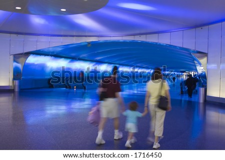 This intentionally blurry image is of travelers moving under a tarmac at Detroit International Airport. The focus of the image is to portray an airport as a static entity while people move through it.