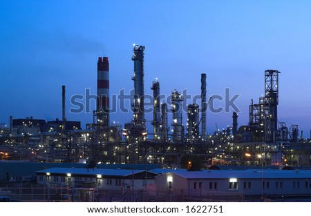 This is a big oil-works in night lights. - stock photo