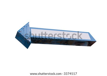 This is a blue and white, retro, steel and neon arrow shaped sign with the words removed and a white space added for graphics, isolated on a white background. - stock photo
