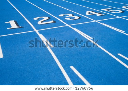 This is a Blue Race Track Starting Line - stock photo