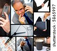 This is a business themed collage. It illustrates finance, communication, interaction, business lifestyle on the run. - stock photo
