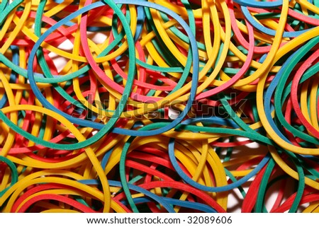 this is a closeup shot of bundle of elastic rubber bands.