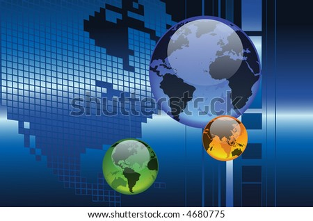 This is a concept of four seasons globe with the world map as background. - stock photo