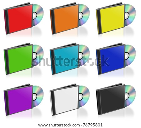 This is a 3D Rendering of a CD or dvd and case. - stock photo