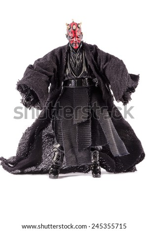 This is a Darth Maul action figure. This Star Wars movie character made by Hasbro. / Ready to fight / Komarom, Hungary - 6th December 2014  - stock photo