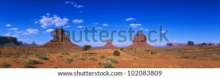 This is a 360 degree panoramic image of Monument Valley Navajo Tribal Park. - stock photo
