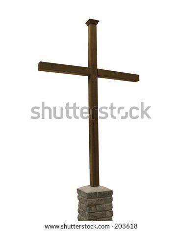 This is a drop out white background shot of a plain wooden cross.