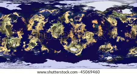 This is a equirectangular map of a 3D computer generated planet that looks like the world known as Earth, but it is a random mapping of landscape and sea. - stock photo