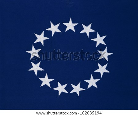 This flag 13 stars sewn circle stock photo 102035194 shutterstock this is a flag with 13 stars sewn in a circle in a field of blue publicscrutiny Image collections