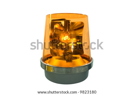 This is a flashing yellow warning beacon. - stock photo
