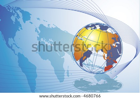 This is a golden globe with the world map as the shadow and a set of wavy linings. - stock photo