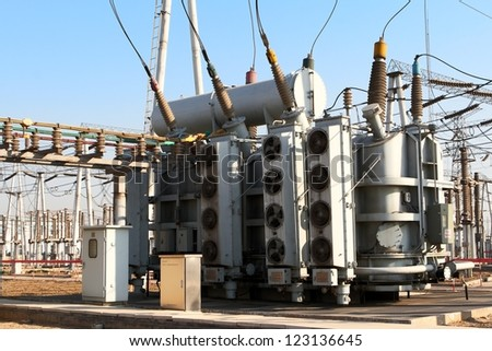 This is a group of 22KV substation equipment. - stock photo