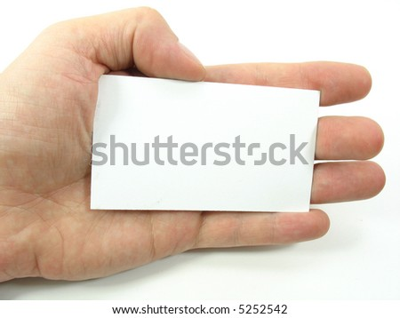 This is a hand holding a blank business card. This gives the user the option to place there business information on the blank card. Copy Space. - stock photo