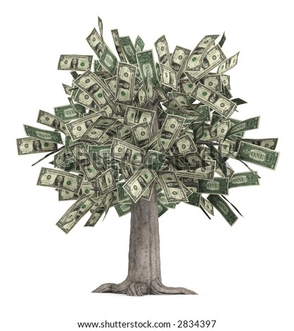 This is a high-resolution 3d render of a rooted tree with a thick stock that is growing currency for it's leaves over a white background. - stock photo
