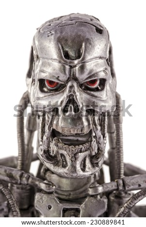 This is a 7 inches tall action figure by Neca Toys. This plastic model represents the T-800 Endoskeleton from the Terminator 2 movie (1991). / Terminator head / Kom�¡rom, Hungary - 29th June 2014  - stock photo