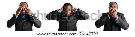 This is a photo montage of a business man expressing with hands to his ears, eyes and mouth. - stock photo