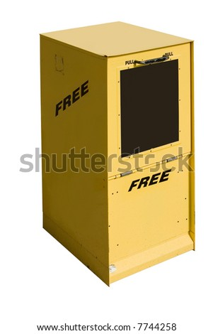 This is a picture of a yellow newspaper box used for the distribution of free circulation papers. - stock photo