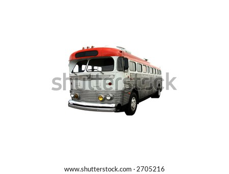 This is a picture of an old intercity bus isolated on white.