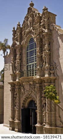 This is a picture of the entrance to the Museum of Man at Balboa Park, San Diego, a public park.