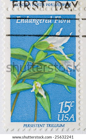 This is a Postage Stamp Persistent Trillium Endangered Flora