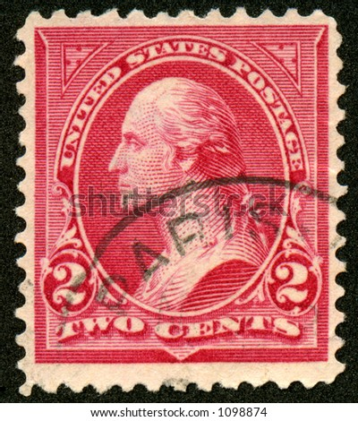 This is a really old vintage, collectible George Washington postage stamp. Probably 100 years old. - stock photo