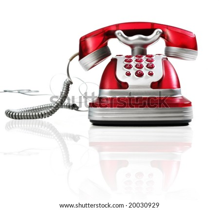 this is a red phone on a white background