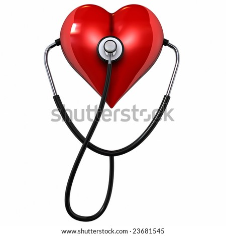 This is a  rendering of a Stethoscope and Heart - stock photo