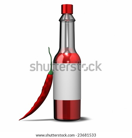 This is a rendering of Hot Sauce - stock photo