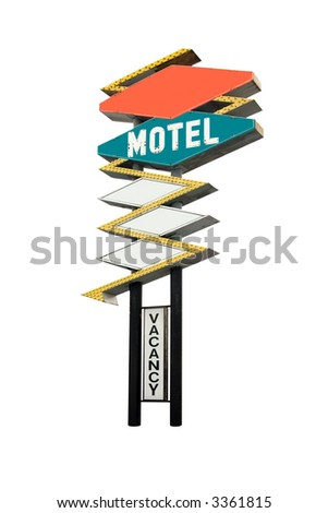 This is a retro motel sign isolated on white with the words motel and vacancy.