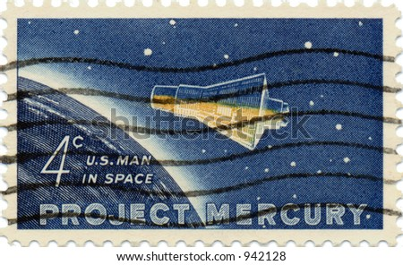 This is a scan of a 1950's vintage Project Mercury US postage stamp - stock photo
