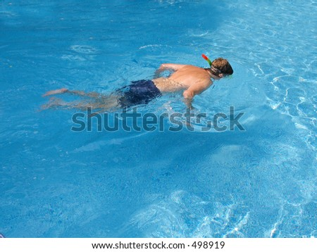This is a shot of a man snorkeling in some clear water.