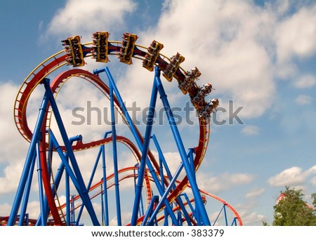 This is a shot of a modern steel roller coaster in action.