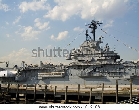 This is a shot of the bridge of a United States Navel aircraft carrier in port in Manhattan during Fleet week. - stock photo