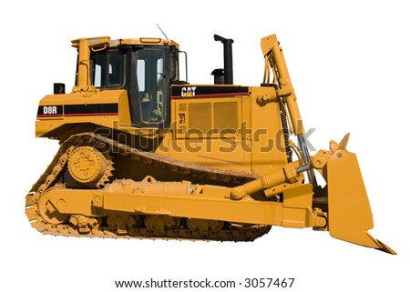 This is a side view of a new Caterpillar bulldozer isolated on white. - stock photo