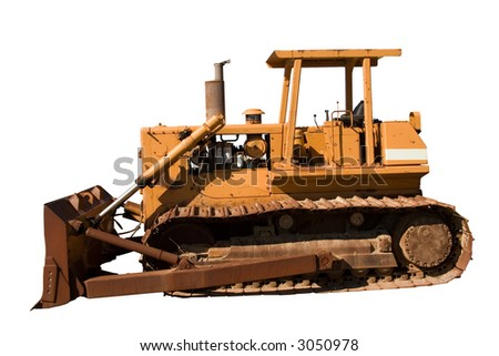 This is a side view of an old bulldozer isolated on white. - stock photo