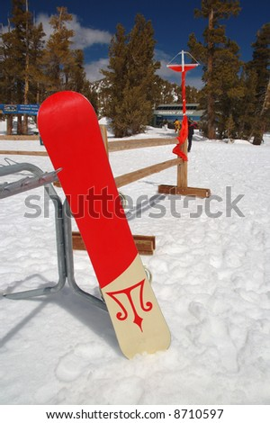 This is a snowboard in Lake Tahoe. - stock photo