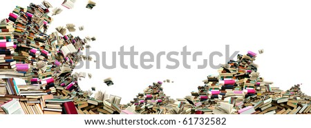 This is a storm in the book Sea. Many books on white background. - stock photo