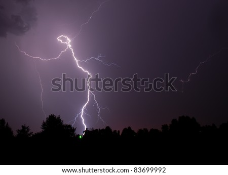 This is a strange lightning picture shaped like a stick person. It is as if God was dancing across the night sky