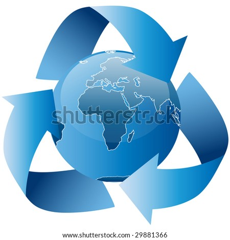 This is a symbol of the earth and a recycle icon put together.