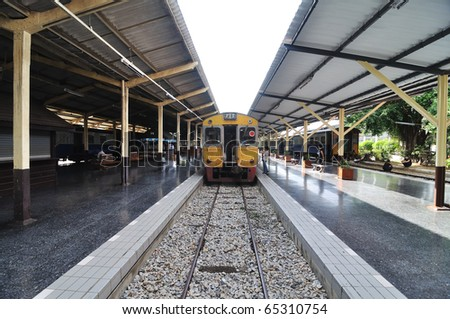 This is a Train in Thailand,This station name Chiang mai - stock photo