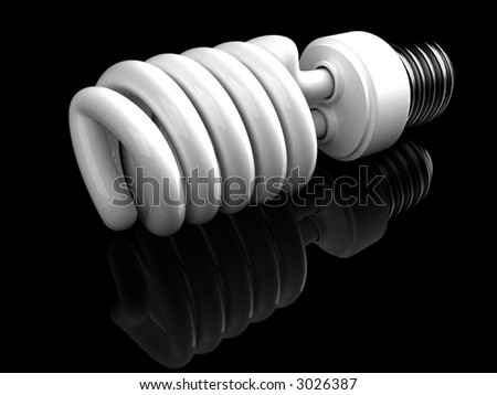 This is a type of energy saving lightbulb that will fit into standard light bulb socket. High quality 3D rendering over black reflecting background. - stock photo
