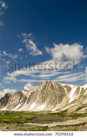 This is a vertical shot of a mountain range in the Medicine Bow National Forest in Wyoming. - stock photo