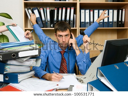 This is a very active and the executive office worker. He has very hard work. - stock photo