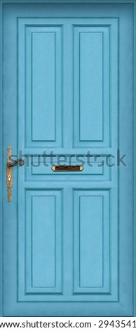 This is a Very High definition of a entire blue door with letter box - stock photo
