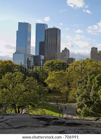 This is a view from the top of some glacial rocks at Central Park in New York.